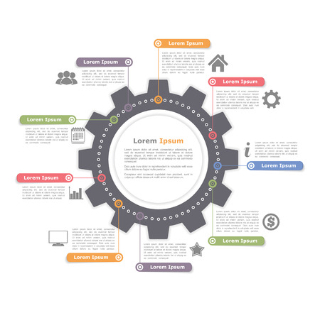 infographies Cercle avec des engins, modèle de diagramme de processus