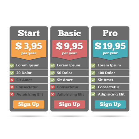 Pricing table for web design template Vector