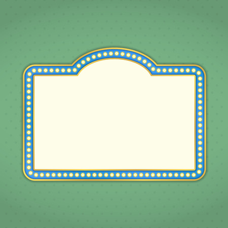 showtime: Retro banner with lights on green background Illustration