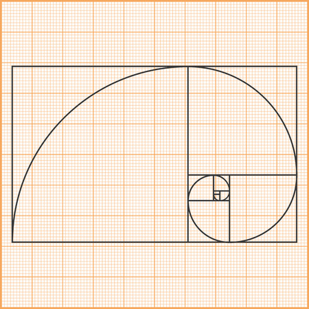 golden section: Graph paper with golden ratio Illustration