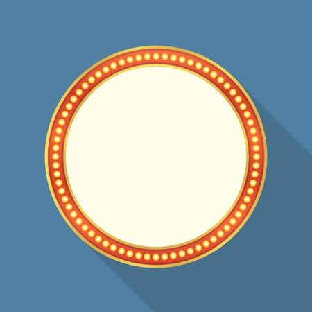 theatre symbol: Round retro banner with lights flat design Illustration