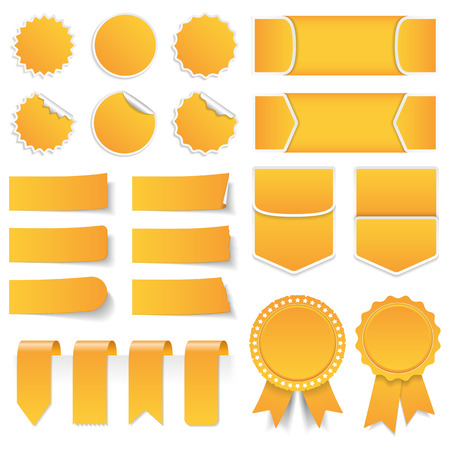 Yellow price tags stickers labels banners and ribbons Illustration
