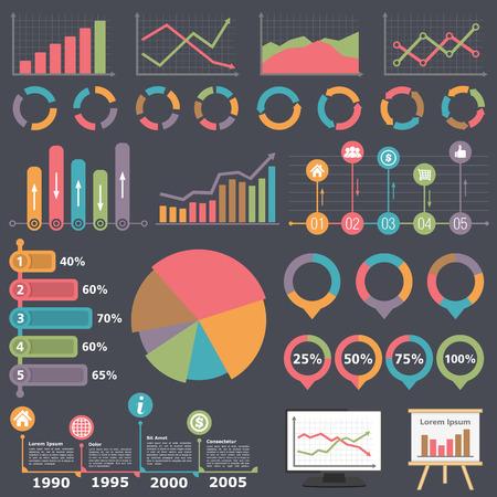 graficas de pastel: Empresas Elementos de Infographic Vectores
