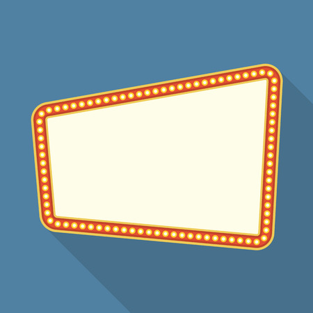 billboard: Retro frame with lights flat design
