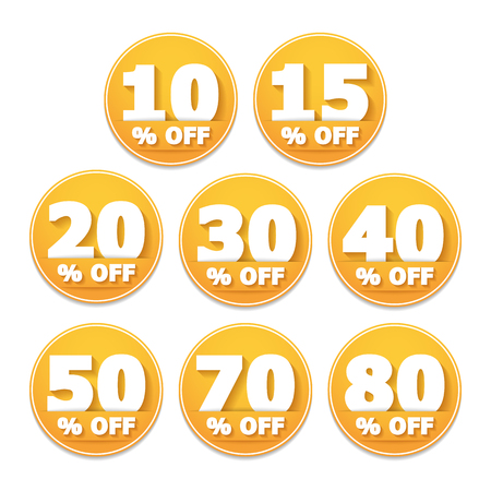 thirty percent off: Yellow discount stickers set, vector eps10 illustration