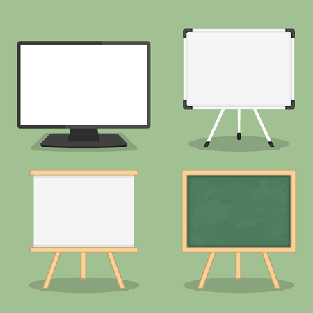 Set of objects for presentation - computer monitor, whiteboard and blackboard, flat design, vector  illustration