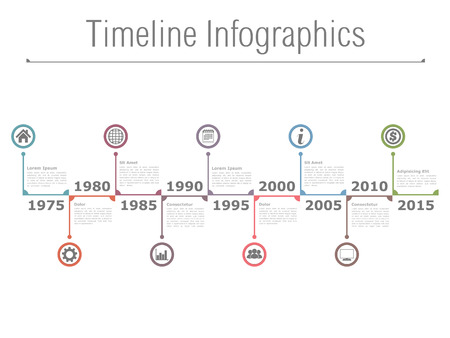 Infographies ligne horizontale du temps