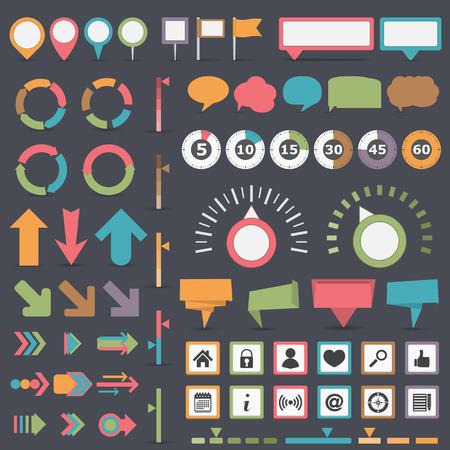 mapa de procesos: Colecci�n de los elementos de Infograf�a Vectores