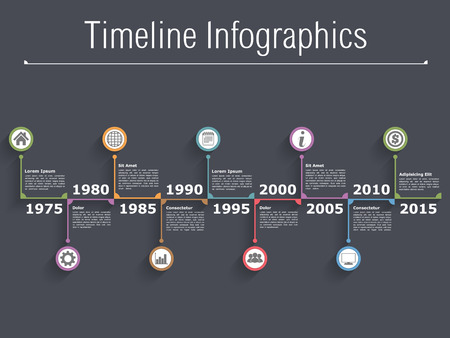 design process: Horizontal timeline infographics with text, dates and icons
