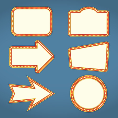 Set of blank retro banners and arrows with lights Ilustracja