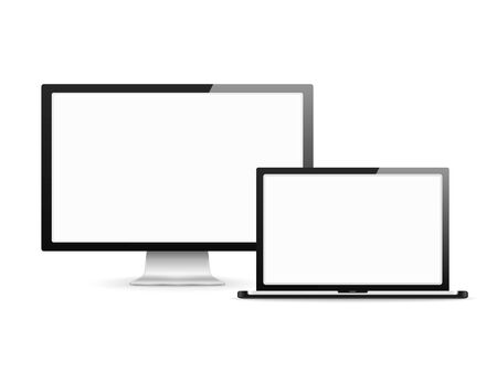 computer screen: Computer monitor and laptop with blank white screens