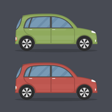 carro caricatura: coches de la ciudad, planos de colores verdes y rojos Vectores
