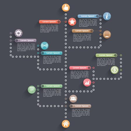 diagrama de arbol: Plantilla de diagrama de árbol sobre fondo oscuro