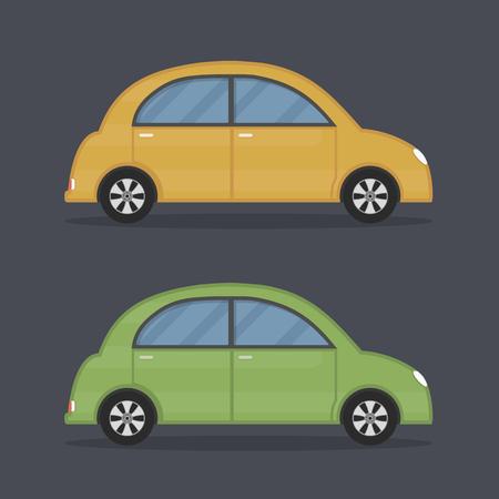 Flat retro cars