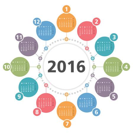 kalendarz: Okrągły 2016 kalendarz Ilustracja