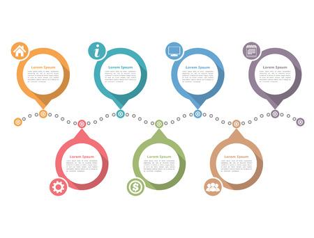 タイムラインのインフォ グラフィック デザイン テンプレート、ワークフローのレイアウト、図