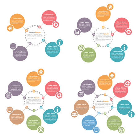 info chart: Circle infographics design templates set, four, five, six and seven steps or options