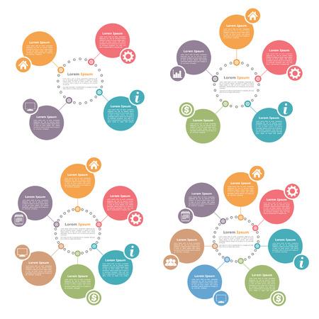 organigrama: Infografía Círculo de diseño de plantillas conjunto, cuatro, cinco, seis y siete pasos u opciones