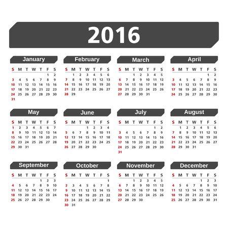 agenda year planner: 2016 Calendar