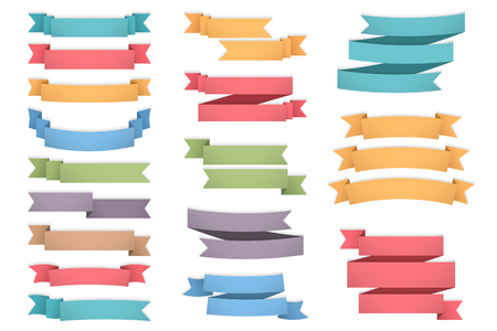 sales promotion: Blank colored ribbons set, one, two and three lines for your text