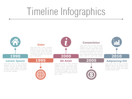 horizontal: Horizontal timeline infographics design template