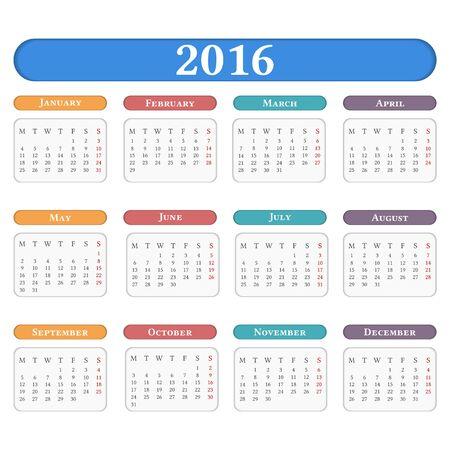 agenda year planner: 2016 Calendar on white background