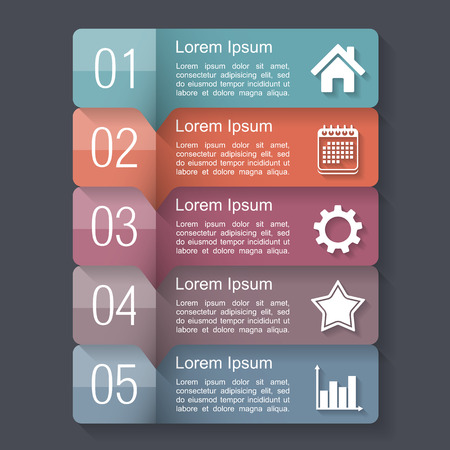 flow diagram: Infographics design template with five elements, text boxes with numbers and icons