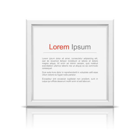 square frame: Square frame with reflection on white background