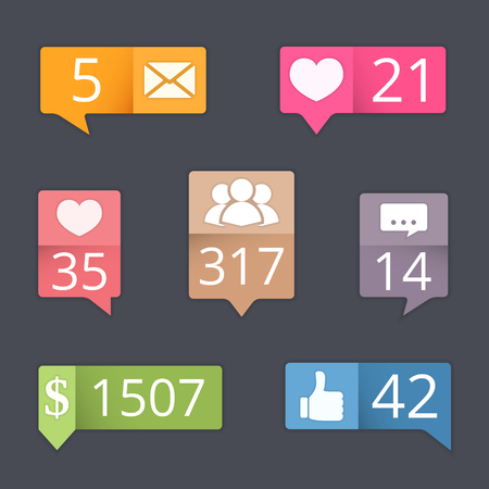 blog design: Buttons with counters set for blog, web site, social media design