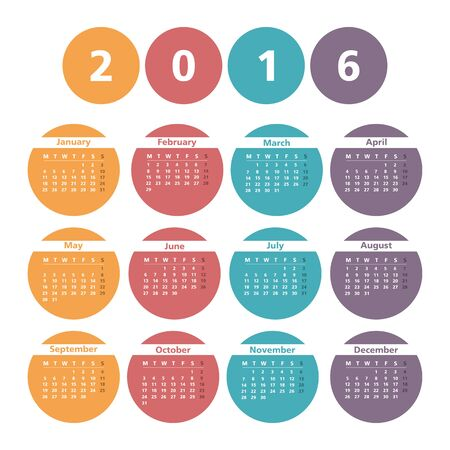 agenda year planner: 2016 Calendar in colored circles