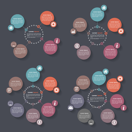 organization: Circle infographics design templates set, four, five, six and seven steps or options