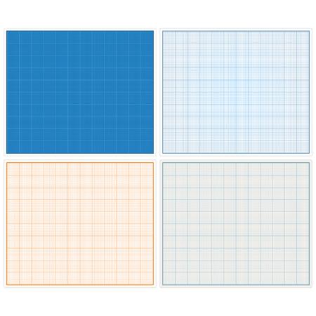 horizontal: Horizontal graph papers set