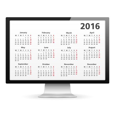 agenda year planner: Computer monitor with 2016 Calendar