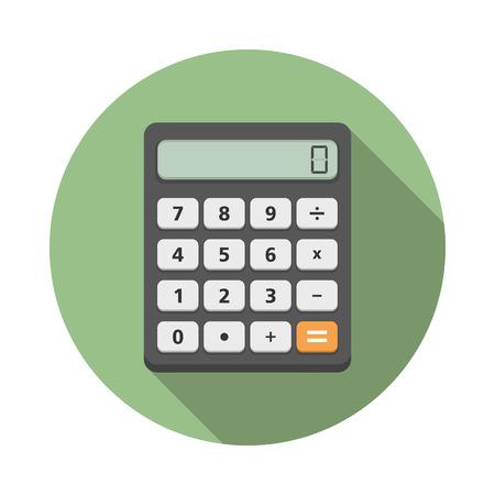 Iccon calculadora en círculo, diseño plano con una larga sombra