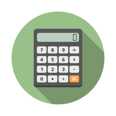 Calculator iccon in circle, flat design with long shadow
