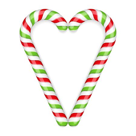 cane sugar: Two candy canes, red and green colors Illustration