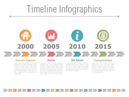 色付きの矢印とサークルのアイコンをタイムラインのインフォ グラフィック デザイン  イラスト・ベクター素材