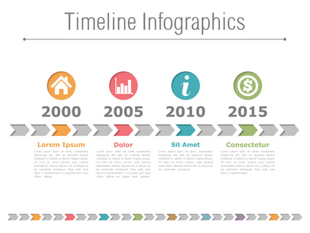 Timeline infographics design with colored arrows and icons in circles