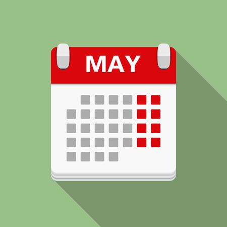 Calendar icon, flat design Vettoriali