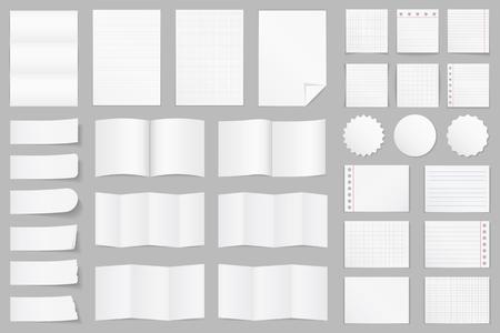 papel de notas: Colección de diferentes papel - papel A4, papel doblado, plantillas de folletos, pegatinas, notas