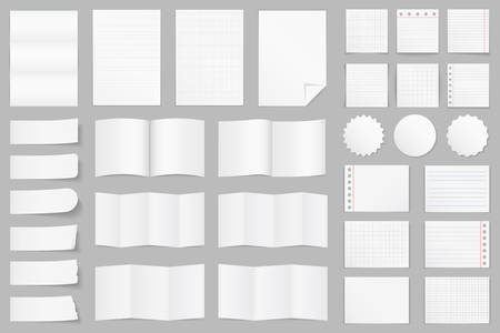 paper note: Collection of different paper - A4 paper, folded paper, brochure templates, stickers, notes
