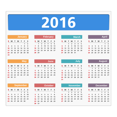 event calendar: 2016 Calendar on white background