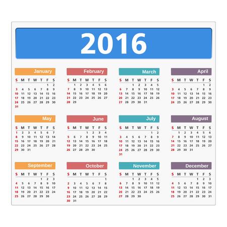 meses del a�o: 2016 calendario sobre fondo blanco Vectores