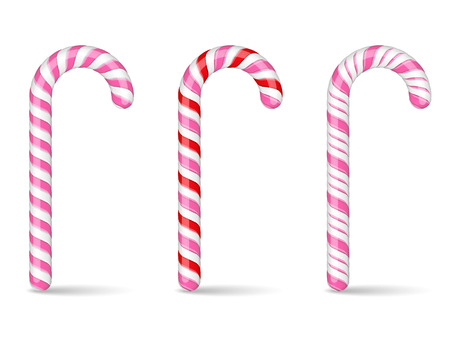 canes: Pink and red candy canes on white background