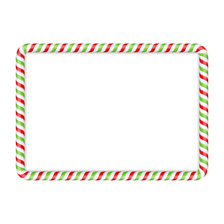 Frame made of candy cane, red and green colors