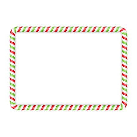 Frame gemaakt van snoep riet, rode en groene kleuren