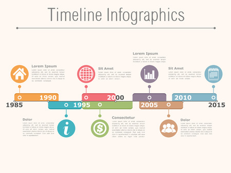 Timeline infographics design template  イラスト・ベクター素材