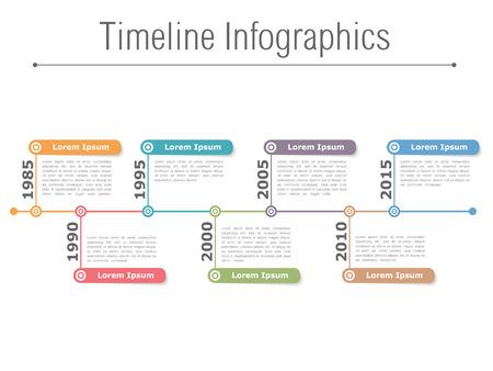 lineas horizontales: Infografía Timeline plantilla de diseño, diagrama de proceso Vectores