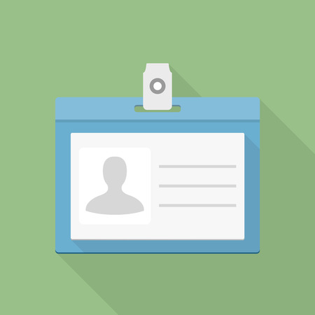 Identification card icon, flat design Иллюстрация