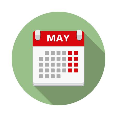 Calendar icon in circle, flat design Illustration